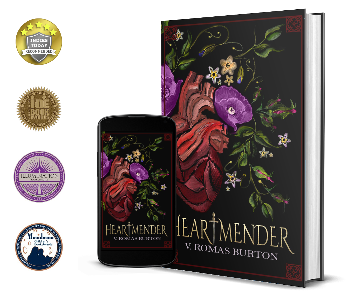 Heartmender badges, Indies Today Recommends, Indie Book Award, Moonbeam Children's Book Award, Illumination Book Award